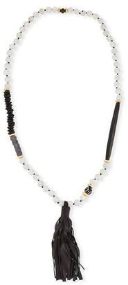 Akola Long Paper Moonstone Beaded Necklace with Leather Tassel