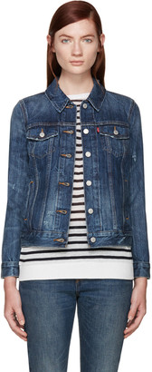 Levi's Blue Denim Boyfriend Trucker Jacket $95 thestylecure.com