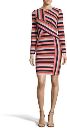 Label By 5twelve Long-Sleeve Candy-Stripe Sheath Dress