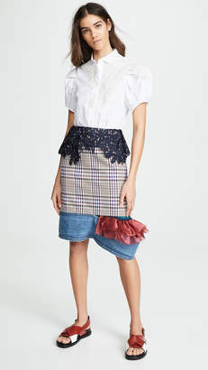 Kolor Plaid Contrast Hem Skirt