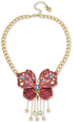 """Betsey Johnson Gold-Tone Glittery Butterfly Collar Necklace, 16"""" + 3"""" extender"""