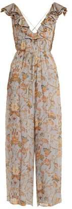 Zimmermann - Painted Heart Floral Print Silk Jumpsuit - Womens - Grey Multi