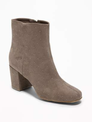 Old Navy Studded Faux-Suede Block-Heel Boots for Women