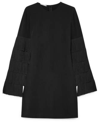 Stella McCartney Fringed Cady Mini Dress - Black