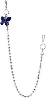Raf Simons Blue Butterfly Ball Wallet Chain in Silver | FWRD