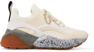 Stella McCartney Eclypse Neoprene-trimmed Faux Leather And Suede Sneakers - White