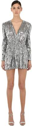 Amen Sequined V Neck Mini Dress