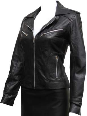 Brandslock Womens Real Leather Classic Biker Jacket (22, )