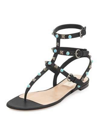 Valentino Rockstud Rolling Flat Thong Sandal
