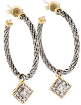 Charriol Diamond Drop Hoop Earrings