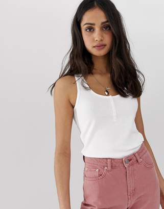 Asos Design DESIGN tank with button front in white
