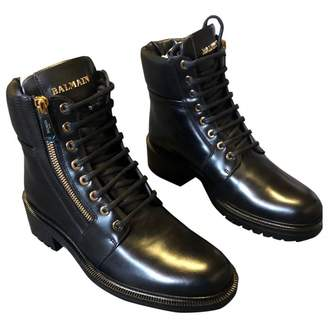 Balmain Army Black Leather Ankle boots