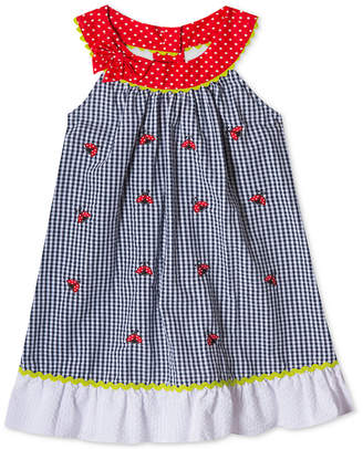 Rare Editions Ladybug Gingham Seersucker Dress, Toddler Girls