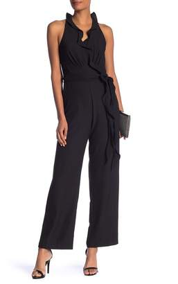 Laundry by Shelli Segal Ruffled Sleeveless Surplice Jumpsuit