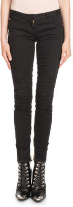 Balmain Skinny Stretch-Denim Jeans with Golden Trim