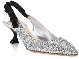 Miu Miu Glitter Slingback Heels