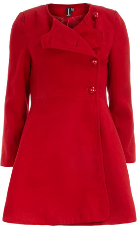 Dorothy Perkins Red fit and flare coat