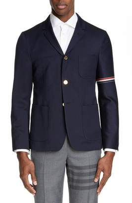 Thom Browne Unconstructed Wool Blend Sport Coat
