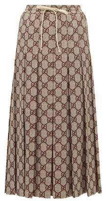 Gucci Gg Print Pleated Midi Skirt - Womens - Brown Multi