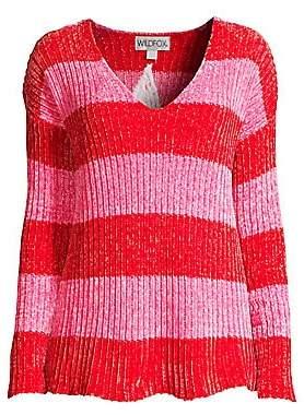 Wildfox Couture Women's Chenille Shiny Striped Sweater