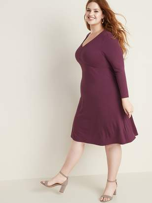Old Navy Jersey V-Neck Plus-Size Fit & Flare Dress