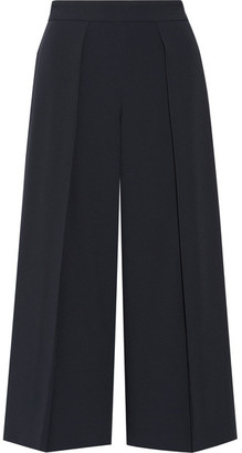 rag & bone - Rowe Cropped Pleated Crepe Wide-leg Pants - Midnight blue $395 thestylecure.com