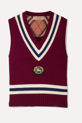 Burberry Maringa Logo Patch Striped Wool And Cashmere-blend Knit Vest - Burgundy