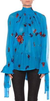 MSGM Floral Tie-Neck Shirred Chiffon Top