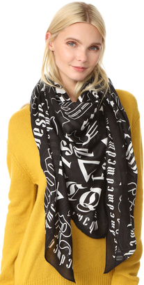 McQ - Alexander McQueen Gothic Text Square Scarf $185 thestylecure.com