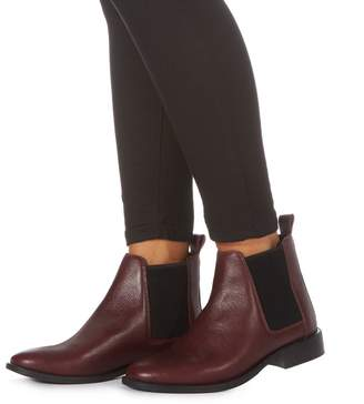 Faith Dark Red Leather 'Binky' Chelsea Boots