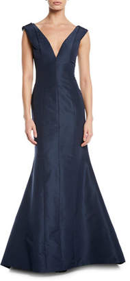 Carolina Herrera Pleated-Shoulder V-Neck Gown