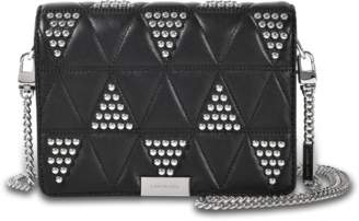MICHAEL Michael Kors Jade Medium Gusset Clutch with Studs in Black Pyramid Quilted Lamb