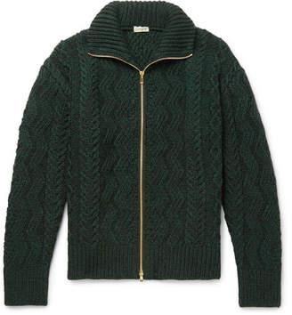 Camoshita Cable-Knit Wool Zip-Up Cardigan