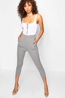 boohoo Leah Crepe Super Skinny Pocket Cropped Trouser