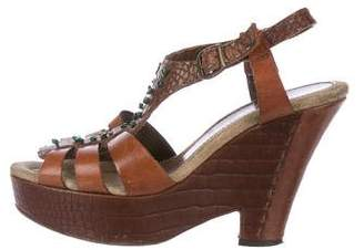 Henry Beguelin Embossed Platform Sandals