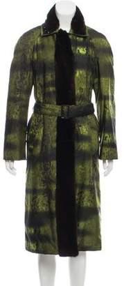 Prada Mink Fur-Trimmed Printed Coat
