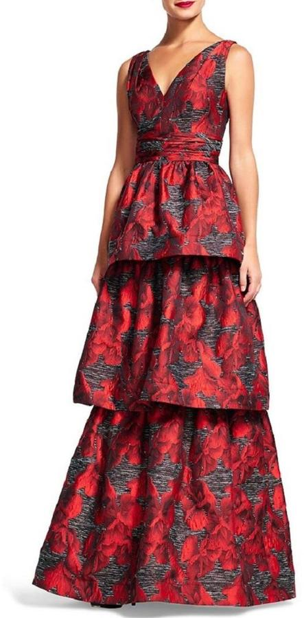 Adrianna PapellAdrianna Papell Tiered Jacquard Gown