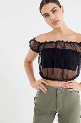 Urban Outfitters Rayne Mesh Ruffle Off-The-Shoulder Top