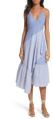 Tibi Colorblock Collage Stripe Halter Dress