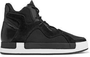Y-3 + Adidas Originals Riyal Iii Leather And Suede-Trimmed Neoprene High-Top Sneakers