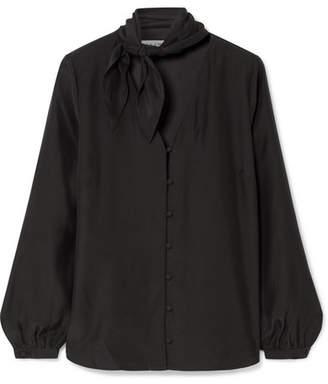 Frame Pussy-bow Silk-satin Blouse - Black