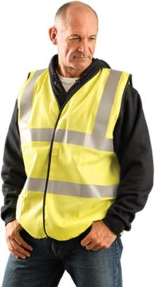 OccuNomix Large Hi-Viz Yellow Flame Resistant Cotton Class 2 Solid Vest With 2 Each 2 Vertical And Horizontal 3M Scotchlite Reflective Material Stripes