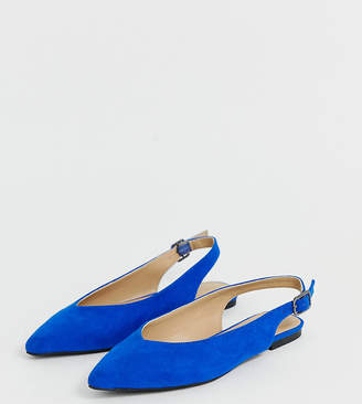 b40b9c97fab Simply Be Extra Wide Fit Simply Be extra wide fit Lana pointed flat shoes  in cobalt