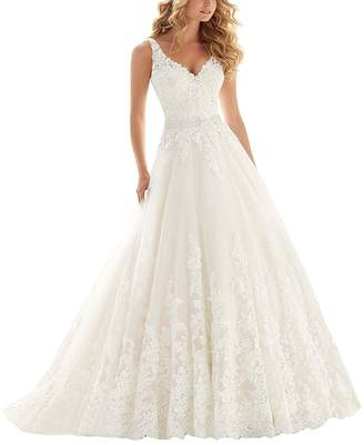 Kmformals Women's V Neck Lace Appliques Vintage Wedding Dress Bride Gown