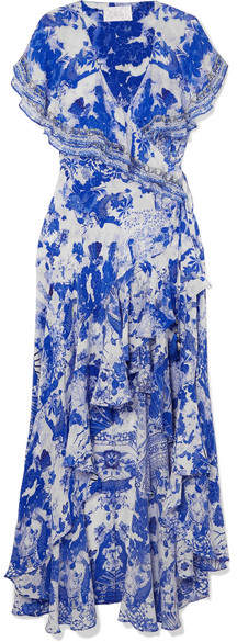 Embellished Printed Silk Crepe De Chine Wrap Maxi Dress - Blue