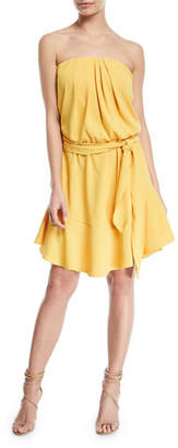 Halston Strapless Mini Dress w/ Flounce Skirt