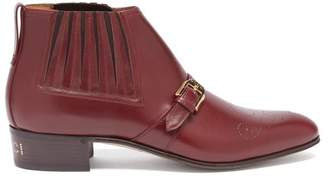 Gucci Buckled Gg Perforated Leather Boots - Mens - Burgundy