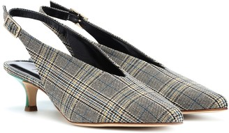 Tibi Lia plaid kitten-heel pumps
