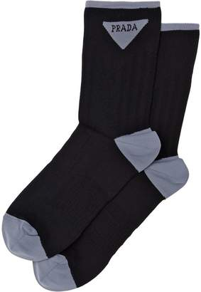 Prada jacquard triangle logo socks