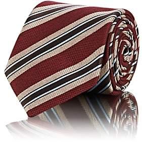 Brioni Men's Striped Silk Basket-Weave Necktie - Red